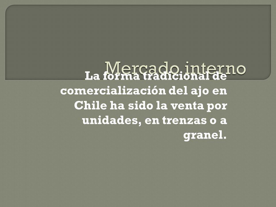 La forma tradicional de comercialización del ajo en Chile ha sido la venta por unidades, en trenzas o a granel.