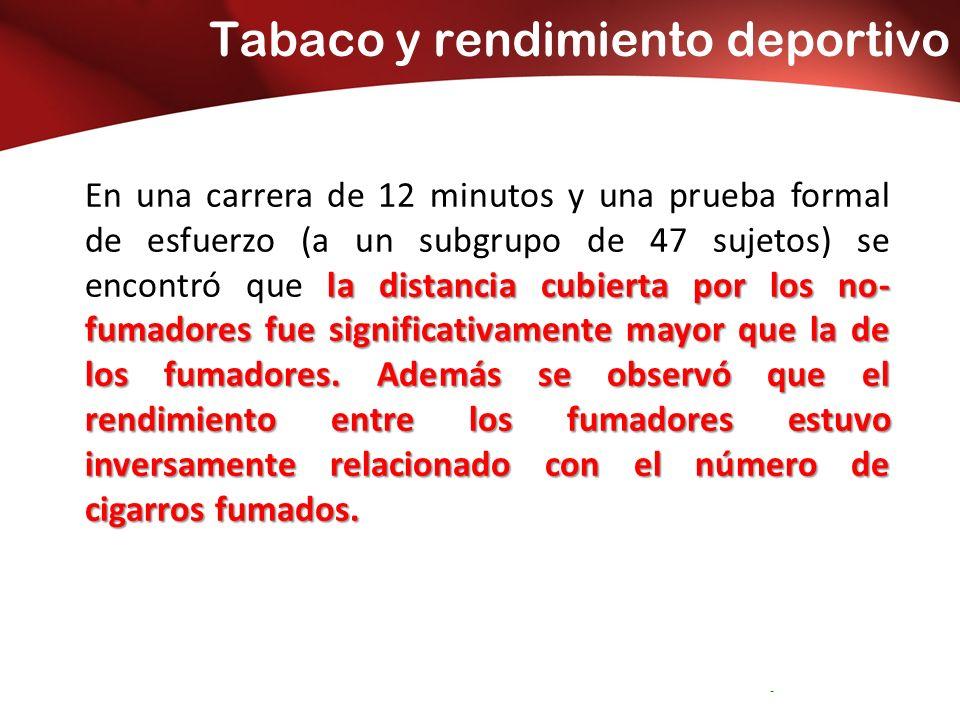 Tabaco y rendimiento deportivo Servicio Andaluz de Salud CONSEJERÍA DE SALUD Distrito Sanitario Bahía de Cádiz – -La Janda la distancia cubierta por los no- fumadores fue significativamente mayor que la de los fumadores.