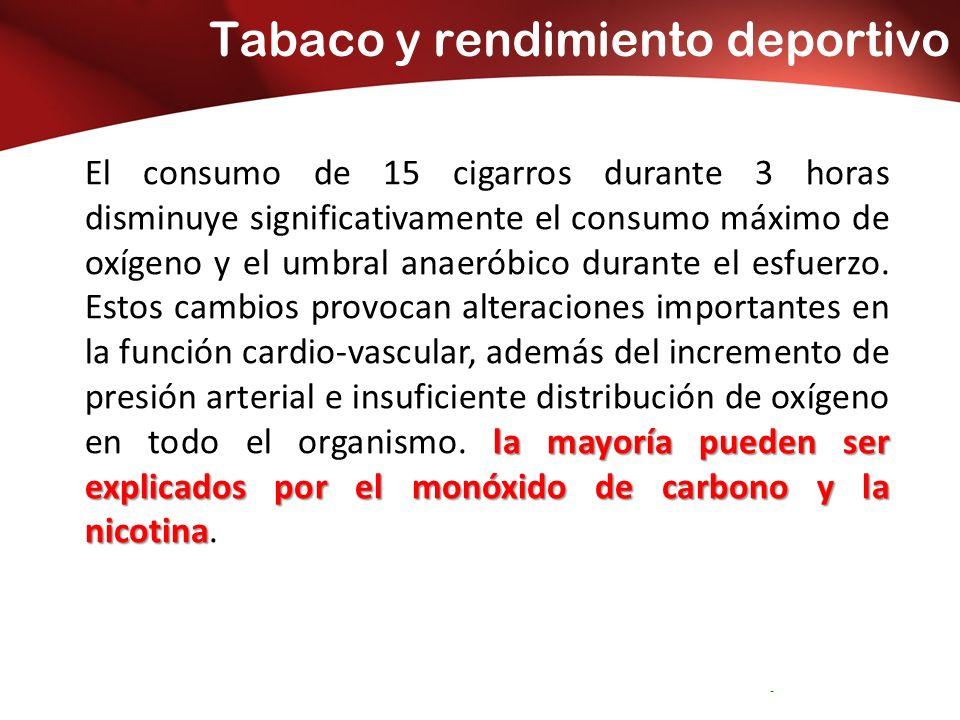 Tabaco y rendimiento deportivo Servicio Andaluz de Salud CONSEJERÍA DE SALUD Distrito Sanitario Bahía de Cádiz – -La Janda la mayoría pueden ser explicados por el monóxido de carbono y la nicotina El consumo de 15 cigarros durante 3 horas disminuye significativamente el consumo máximo de oxígeno y el umbral anaeróbico durante el esfuerzo.