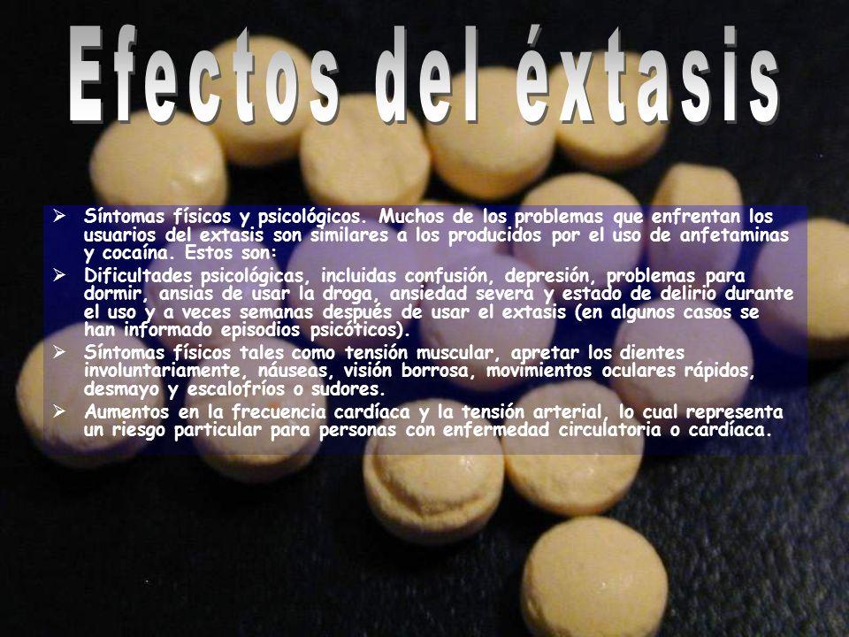 Síntomas físicos y psicológicos. Muchos de los problemas que enfrentan los usuarios del extasis son similares a los producidos por el uso de anfetamin