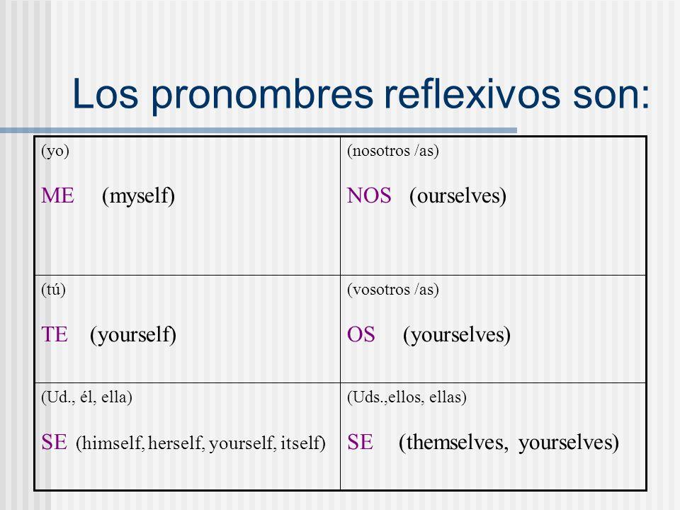 Los pronombres reflexivos son: (Uds.,ellos, ellas) SE (themselves, yourselves) (Ud., él, ella) SE (himself, herself, yourself, itself) (vosotros /as)
