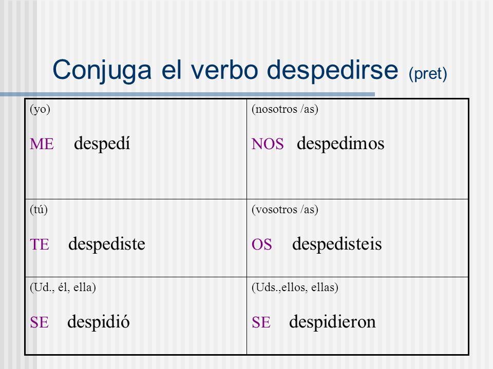 Conjuga el verbo despedirse (pret) (Uds.,ellos, ellas) SE despidieron (Ud., él, ella) SE despidió (vosotros /as) OS despedisteis (tú) TE despediste (nosotros /as) NOS despedimos (yo) ME despedí