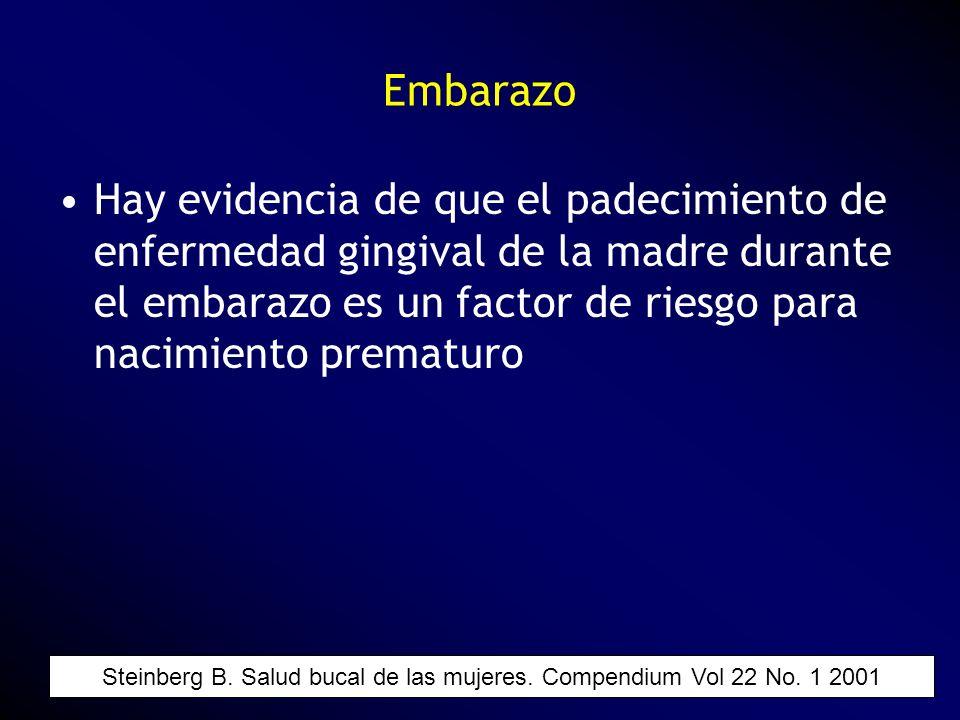 Hay evidencia de que el padecimiento de enfermedad gingival de la madre durante el embarazo es un factor de riesgo para nacimiento prematuro Embarazo