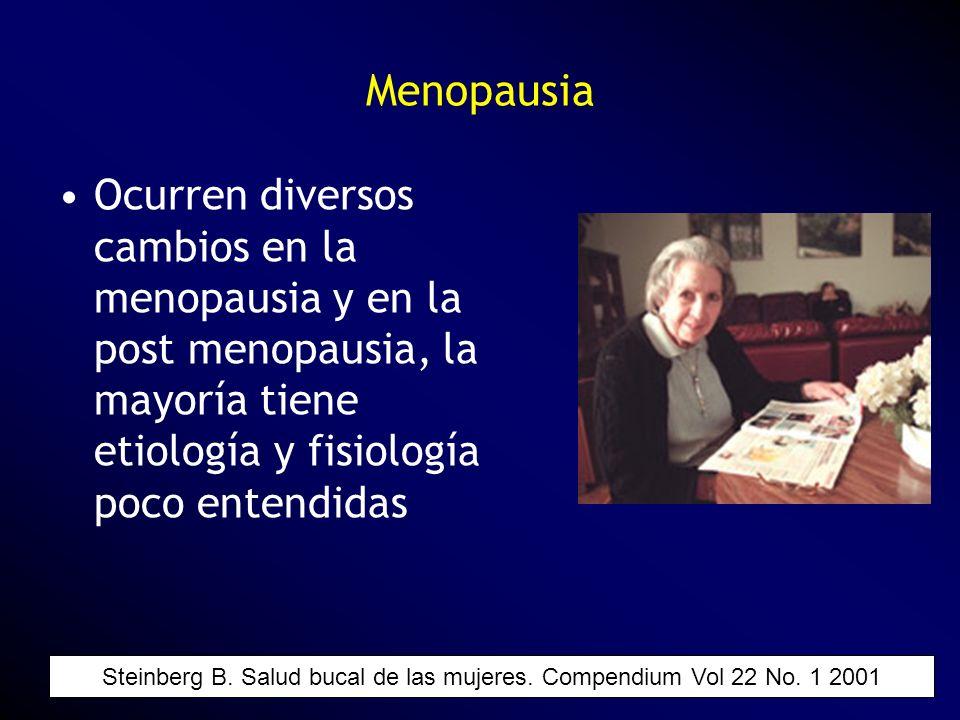Menopausia Ocurren diversos cambios en la menopausia y en la post menopausia, la mayoría tiene etiología y fisiología poco entendidas Steinberg B. Sal