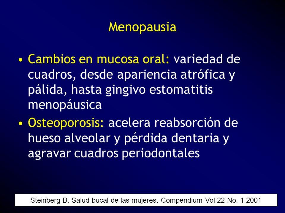 Cambios en mucosa oral: variedad de cuadros, desde apariencia atrófica y pálida, hasta gingivo estomatitis menopáusica Osteoporosis: acelera reabsorci