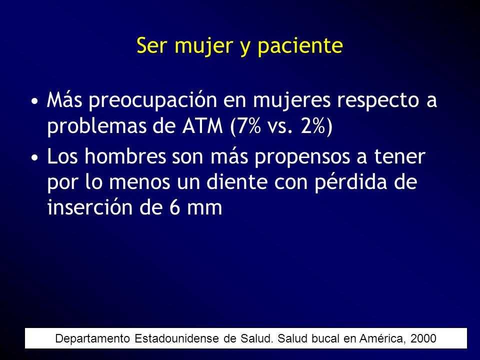 Más preocupación en mujeres respecto a problemas de ATM (7% vs. 2%) Los hombres son más propensos a tener por lo menos un diente con pérdida de inserc