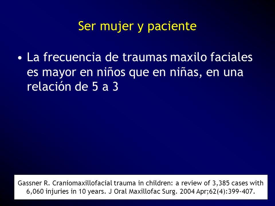 La frecuencia de traumas maxilo faciales es mayor en niños que en niñas, en una relación de 5 a 3 Gassner R. Craniomaxillofacial trauma in children: a