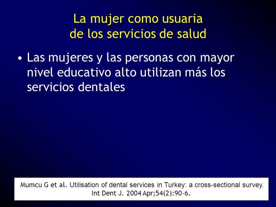 La mujer como usuaria de los servicios de salud Las mujeres y las personas con mayor nivel educativo alto utilizan más los servicios dentales Mumcu G