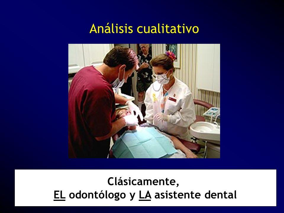Análisis cualitativo Clásicamente, EL odontólogo y LA asistente dental