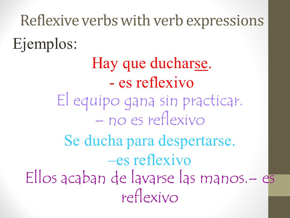 Reflexive verbs with verb expressions Ejemplos: Hay que ducharse.