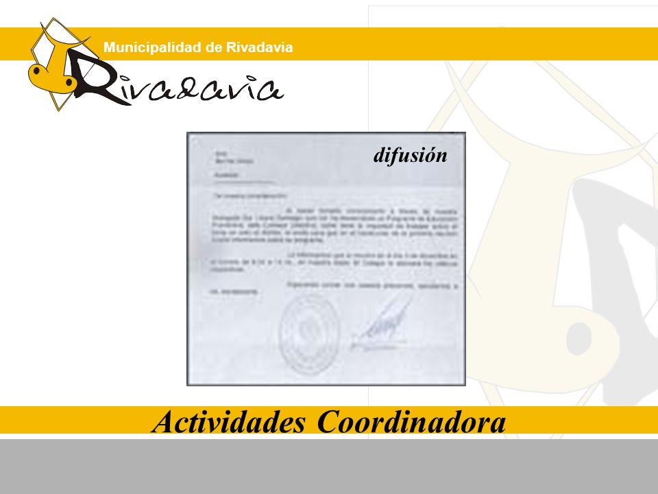 Municipalidad de Rivadavia Actividades Coordinadora difusión