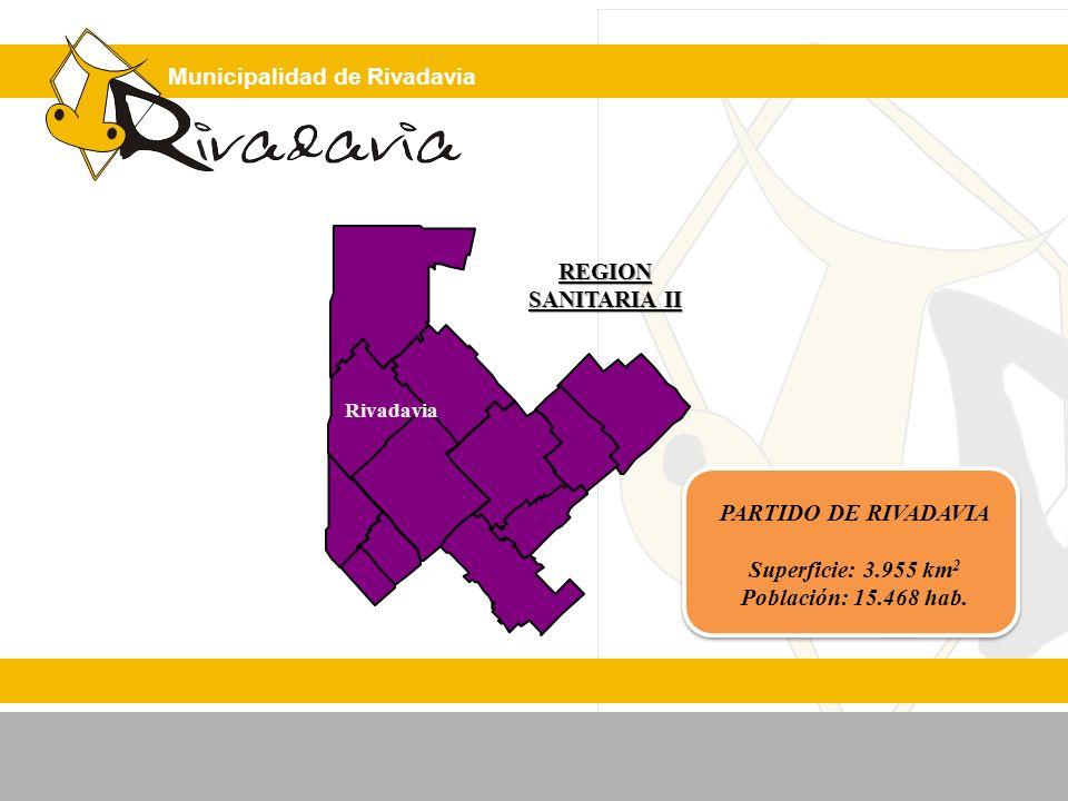 Municipalidad de Rivadavia REGION SANITARIA II PARTIDO DE RIVADAVIA Superficie: 3.955 km 2 Población: 15.468 hab. Rivadavia