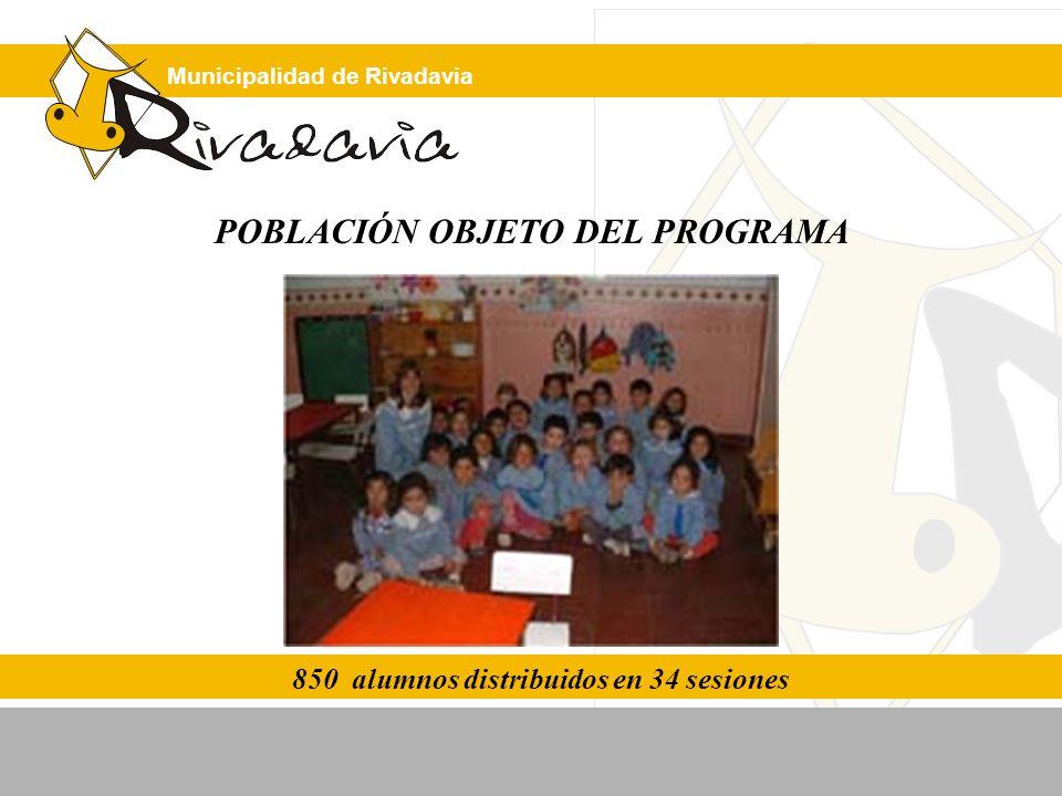 Municipalidad de Rivadavia POBLACIÓN OBJETO DEL PROGRAMA 850 alumnos distribuidos en 34 sesiones