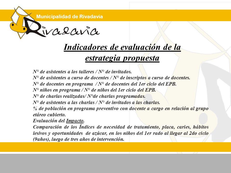 Municipalidad de Rivadavia Indicadores de evaluación de la estrategia propuesta N° de asistentes a los talleres / N° de invitados. N° de asistentes a