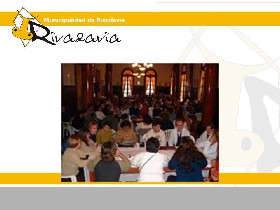 Municipalidad de Rivadavia Indicadores de evaluación de la estrategia propuesta N° de asistentes a los talleres / N° de invitados.