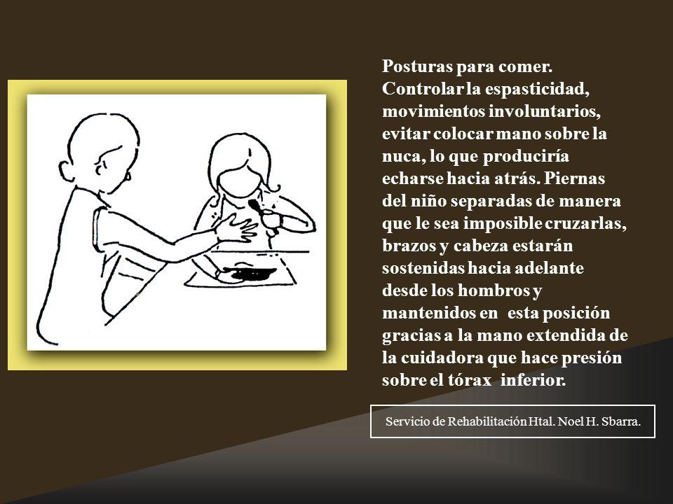 Posturas para comer. Controlar la espasticidad, movimientos involuntarios, evitar colocar mano sobre la nuca, lo que produciría echarse hacia atrás. P