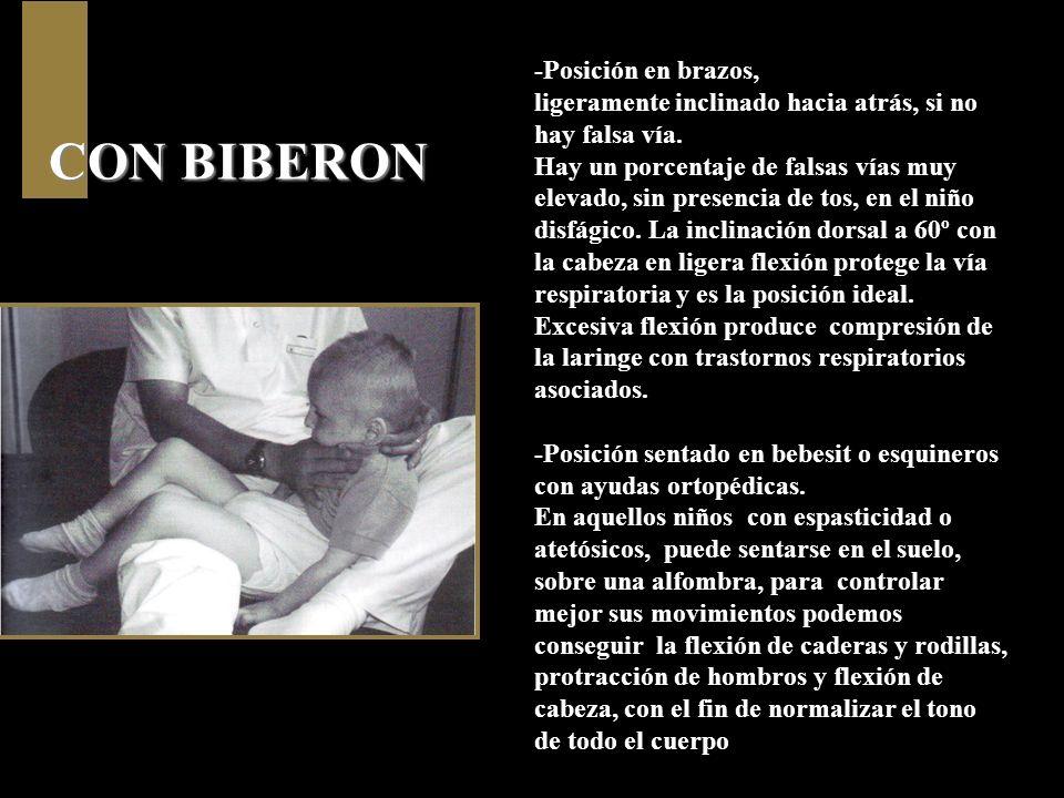 CON BIBERON -Posición en brazos, ligeramente inclinado hacia atrás, si no hay falsa vía. Hay un porcentaje de falsas vías muy elevado, sin presencia d