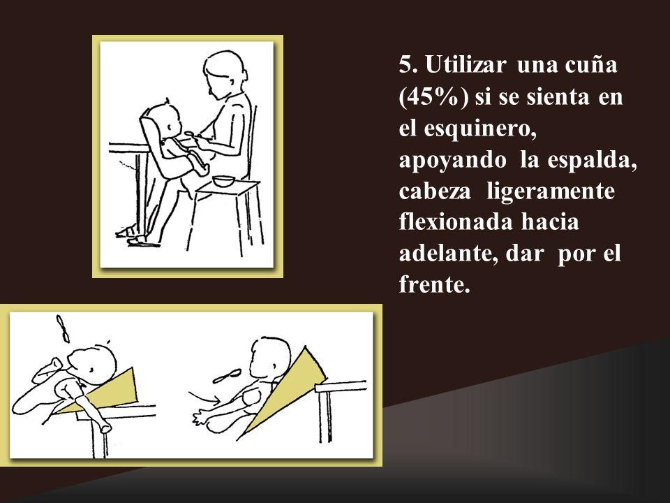 5. Utilizar una cuña (45%) si se sienta en el esquinero, apoyando la espalda, cabeza ligeramente flexionada hacia adelante, dar por el frente.