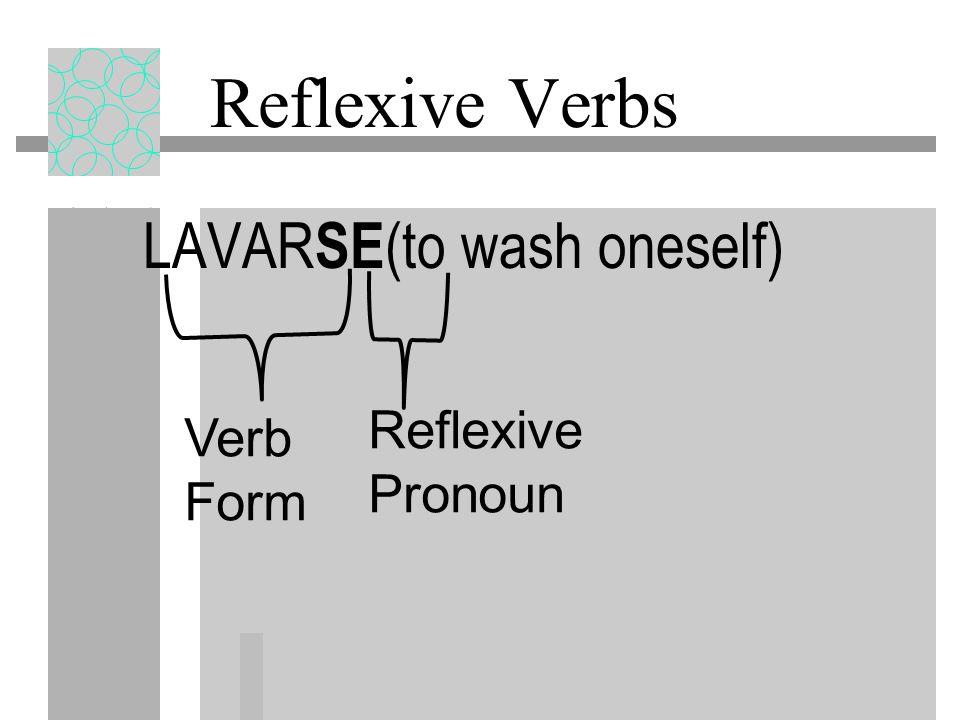 Reflexive Verbs Reflexive verbs have two parts: a reflexive pronoun (me, te, se, nos, se) and a verb form.