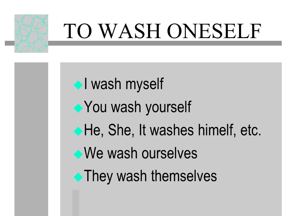 Reflexive Pronouns me (to or for myself) te (to or for yourself) se (to or for himself, herself, it) nos (to or for ourselves) os (to or for you all)