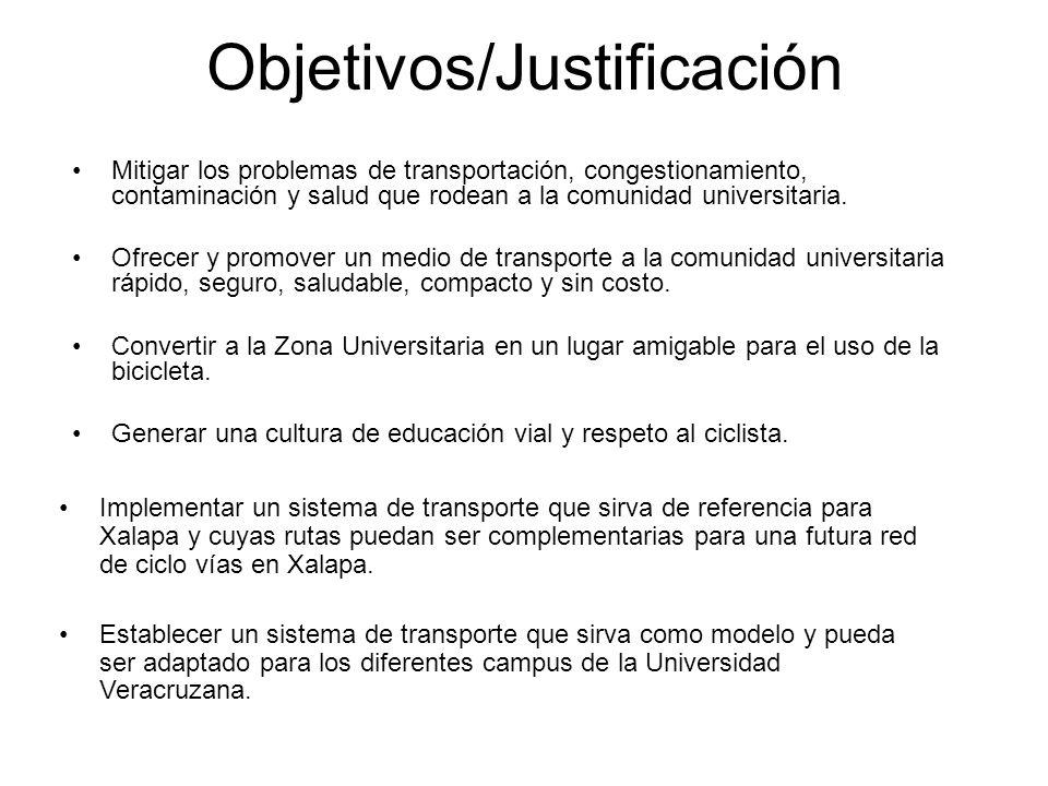 Objetivos/Justificación Mitigar los problemas de transportación, congestionamiento, contaminación y salud que rodean a la comunidad universitaria. Ofr