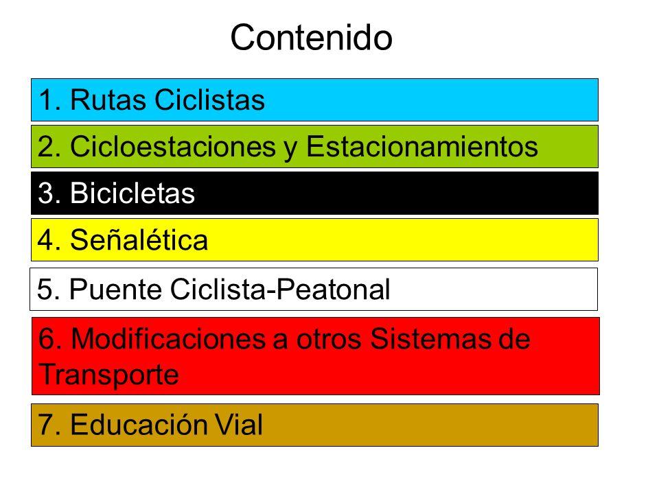 Contenido 1. Rutas Ciclistas 2. Cicloestaciones y Estacionamientos 3. Bicicletas 4. Señalética 6. Modificaciones a otros Sistemas de Transporte 7. Edu
