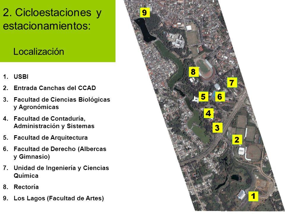 2. Cicloestaciones y estacionamientos: Localización 1.USBI 2.Entrada Canchas del CCAD 3.Facultad de Ciencias Biológicas y Agronómicas 4.Facultad de Co
