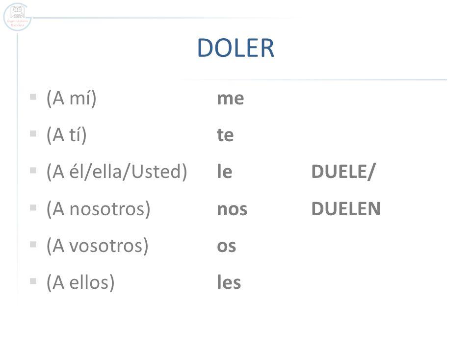 FORMAS: DUELE + …………. / …………. DUELEN + ……………..