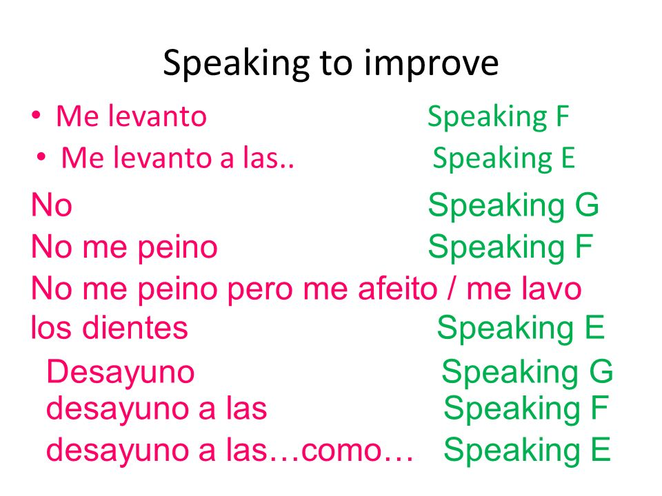 Speaking to improve Me levantoSpeaking F Me levanto a las.. Speaking E desayuno a lasSpeaking F desayuno a las…como… Speaking E NoSpeaking G No me pei