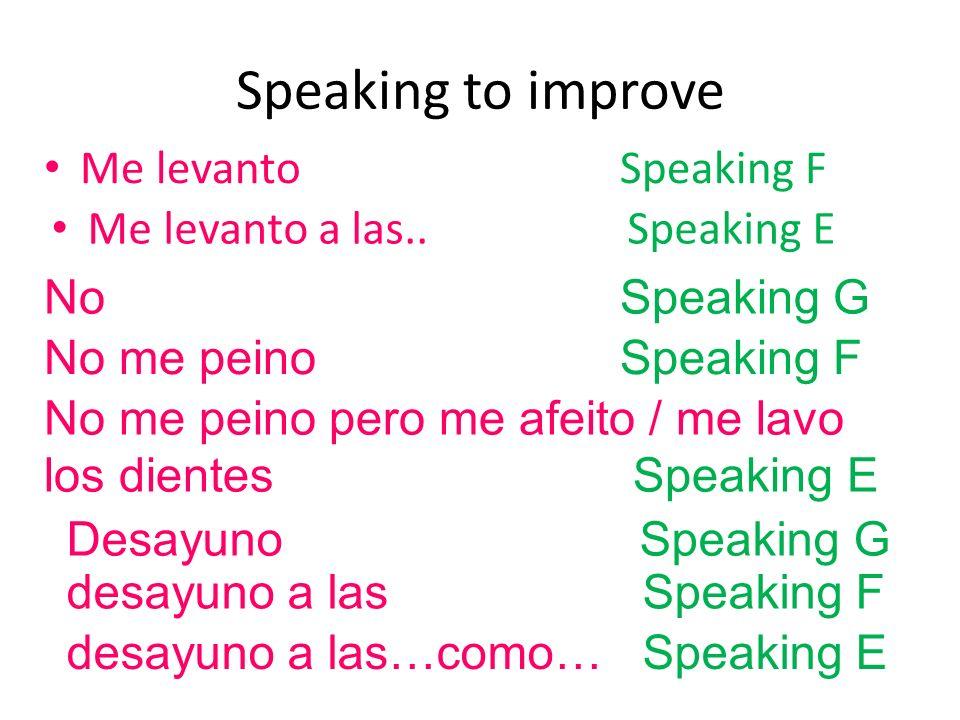 Speaking to improve Me levanto a las siete..