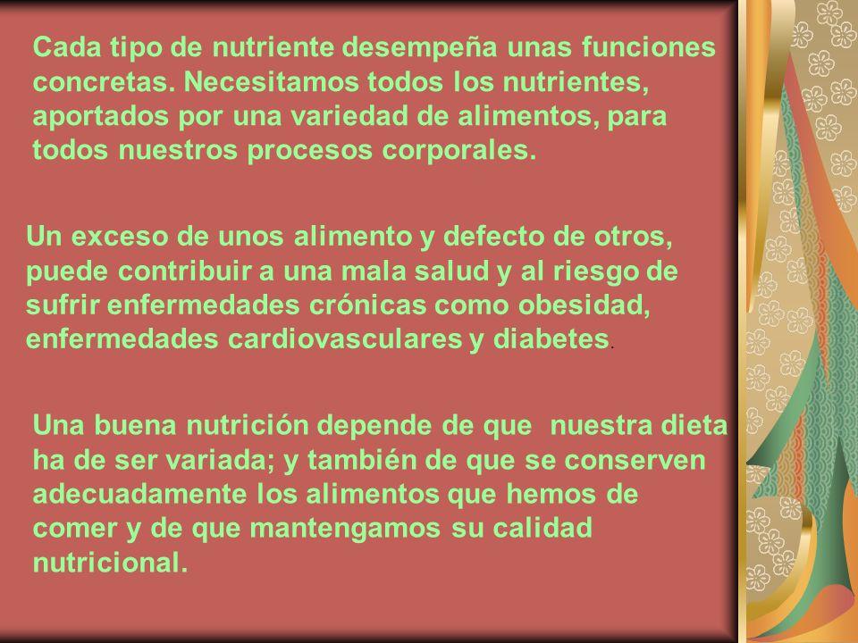 Cada tipo de nutriente desempeña unas funciones concretas. Necesitamos todos los nutrientes, aportados por una variedad de alimentos, para todos nuest