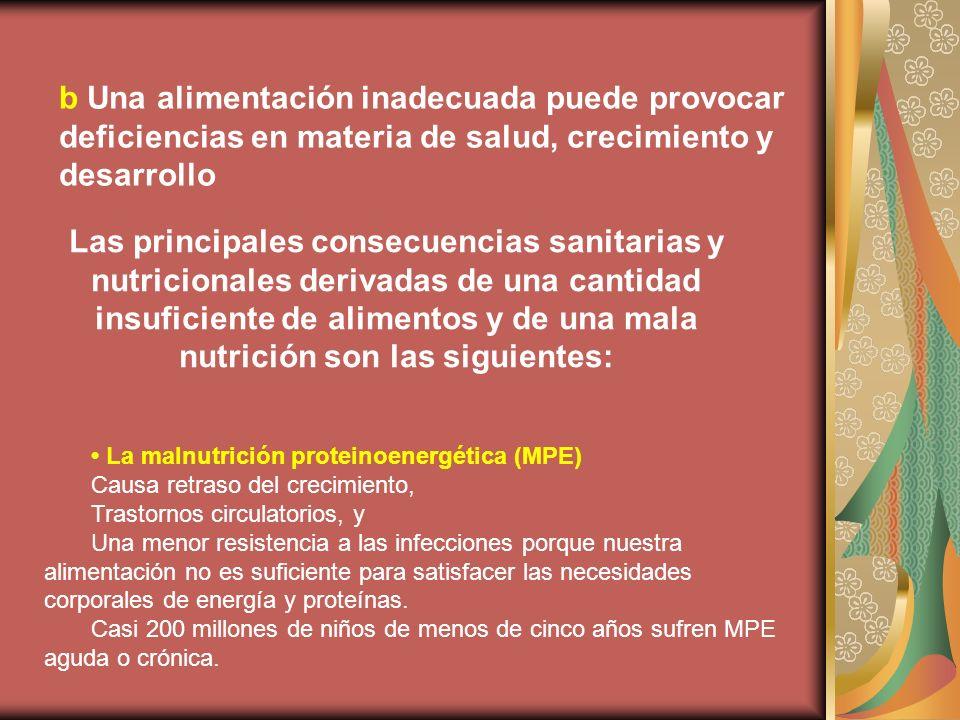 b Una alimentación inadecuada puede provocar deficiencias en materia de salud, crecimiento y desarrollo Las principales consecuencias sanitarias y nut