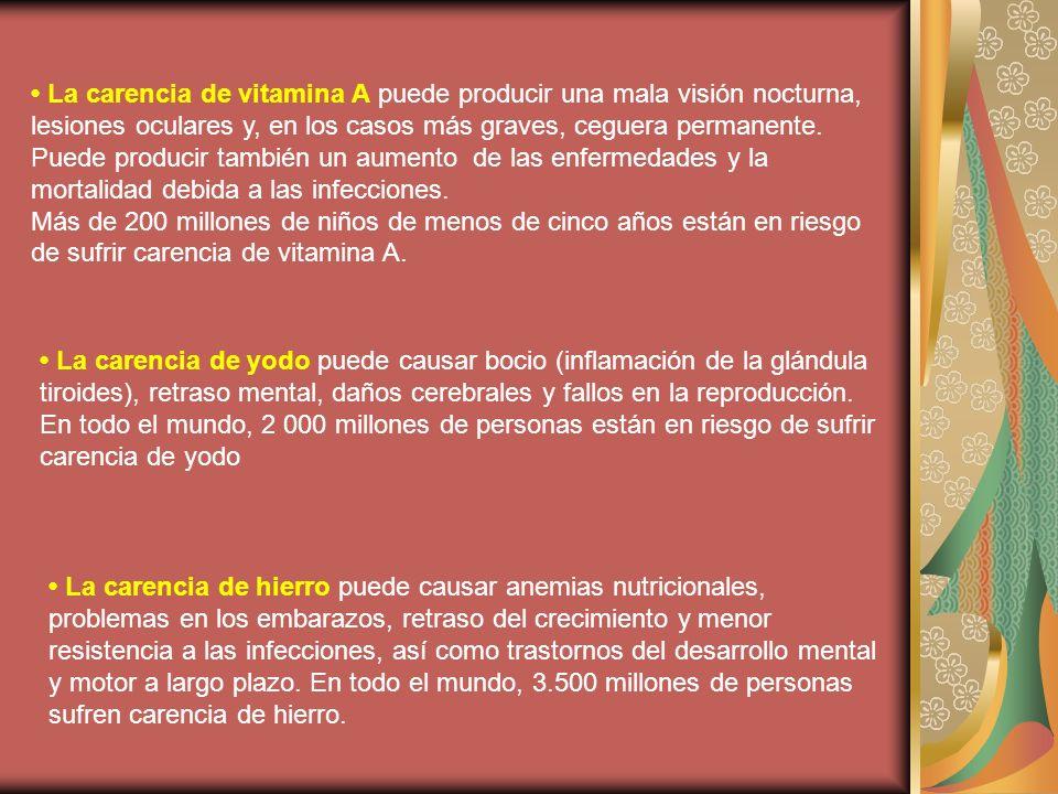La carencia de vitamina A puede producir una mala visión nocturna, lesiones oculares y, en los casos más graves, ceguera permanente.