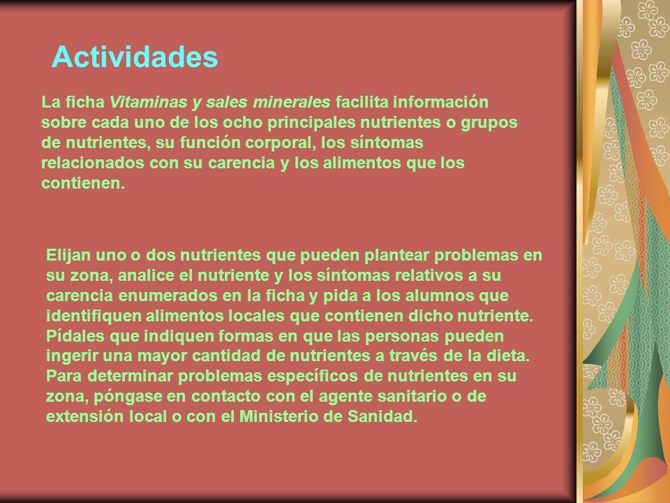 Actividades La ficha Vitaminas y sales minerales facilita información sobre cada uno de los ocho principales nutrientes o grupos de nutrientes, su función corporal, los síntomas relacionados con su carencia y los alimentos que los contienen.