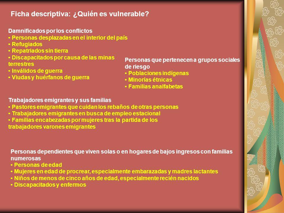 Ficha descriptiva: ¿Quién es vulnerable.