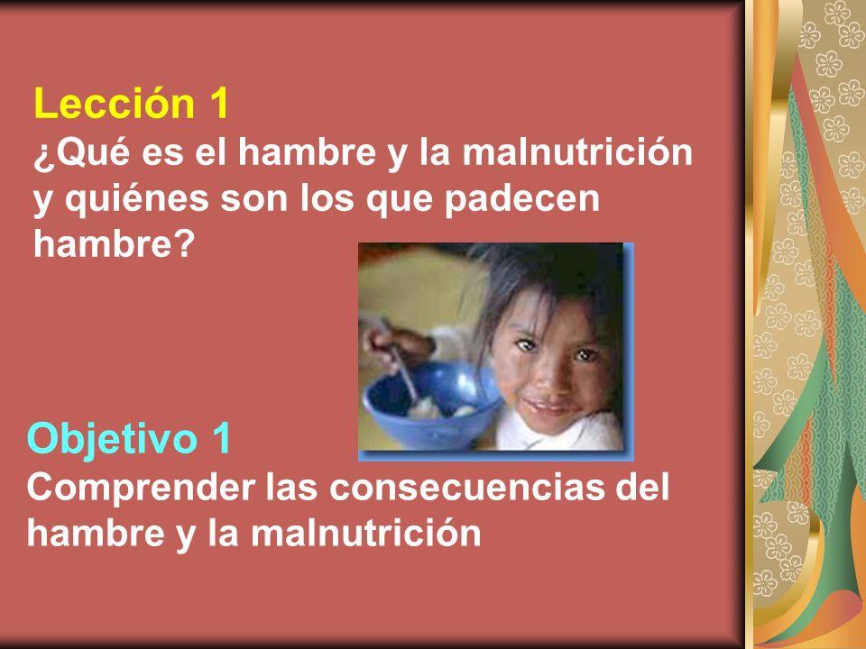 Lección 1 ¿Qué es el hambre y la malnutrición y quiénes son los que padecen hambre? Objetivo 1 Comprender las consecuencias del hambre y la malnutrici