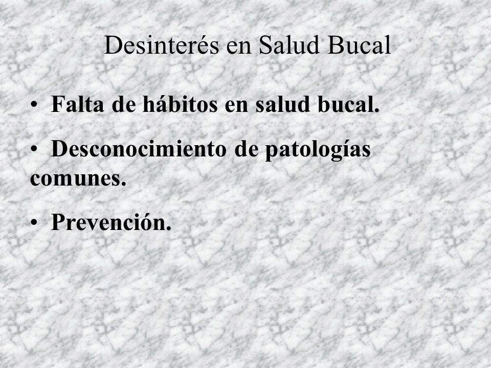 Desinterés en Salud Bucal Falta de hábitos en salud bucal. Desconocimiento de patologías comunes. Prevención.