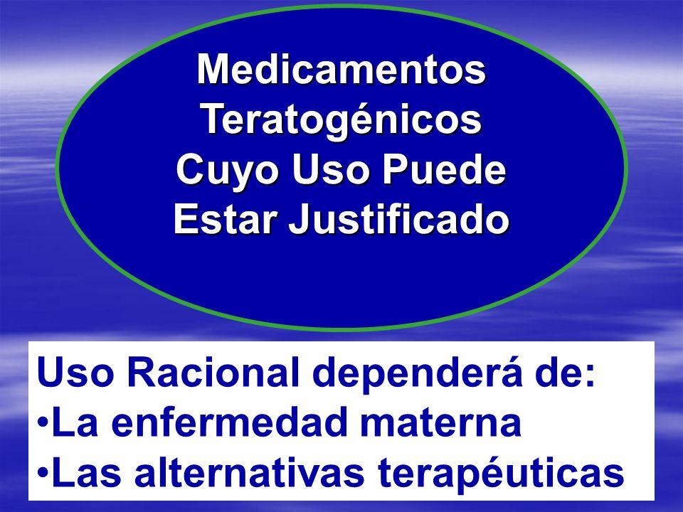 MedicamentosTeratogénicos Cuyo Uso Puede Estar Justificado Uso Racional dependerá de: La enfermedad materna Las alternativas terapéuticas