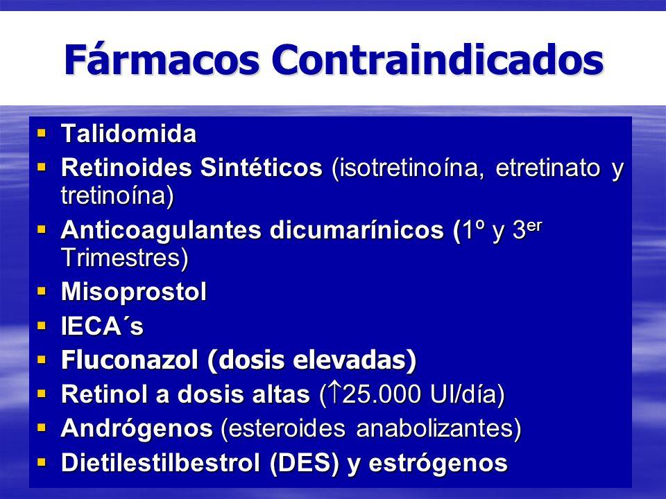 Fármacos Contraindicados Talidomida Talidomida Retinoides Sintéticos (isotretinoína, etretinato y tretinoína) Retinoides Sintéticos (isotretinoína, et