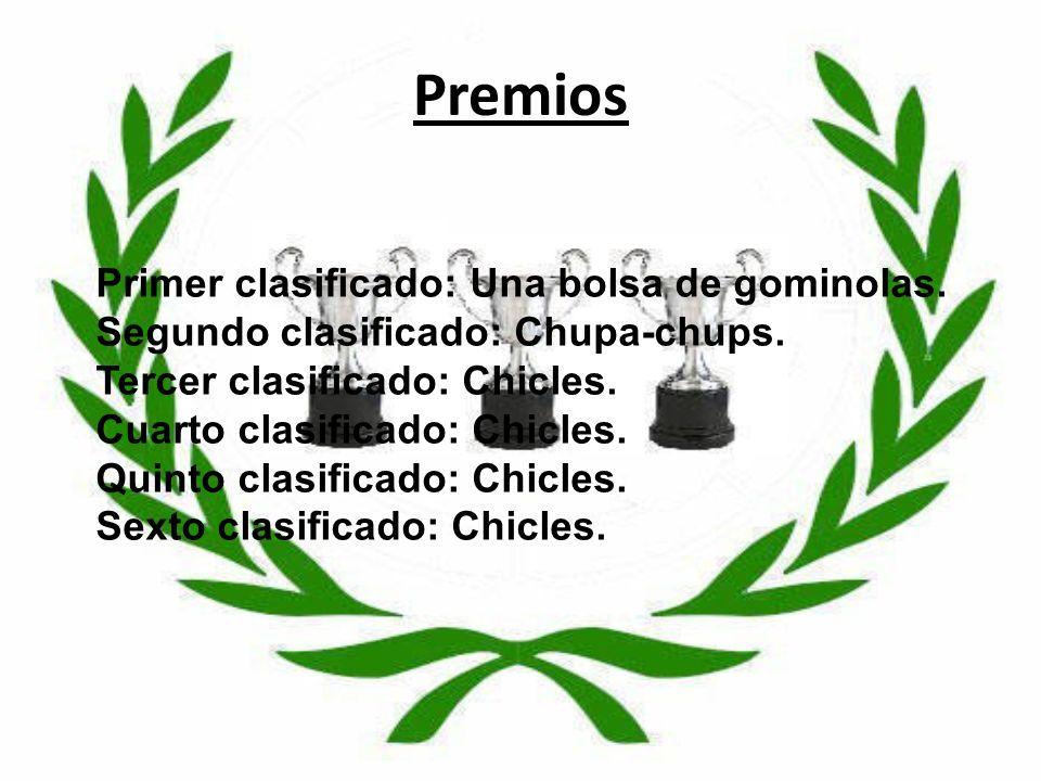 Premios Primer clasificado: Una bolsa de gominolas. Segundo clasificado: Chupa-chups. Tercer clasificado: Chicles. Cuarto clasificado: Chicles. Quinto