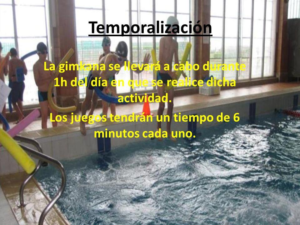 Temporalización La gimkana se llevará a cabo durante 1h del día en que se realice dicha actividad. Los juegos tendrán un tiempo de 6 minutos cada uno.