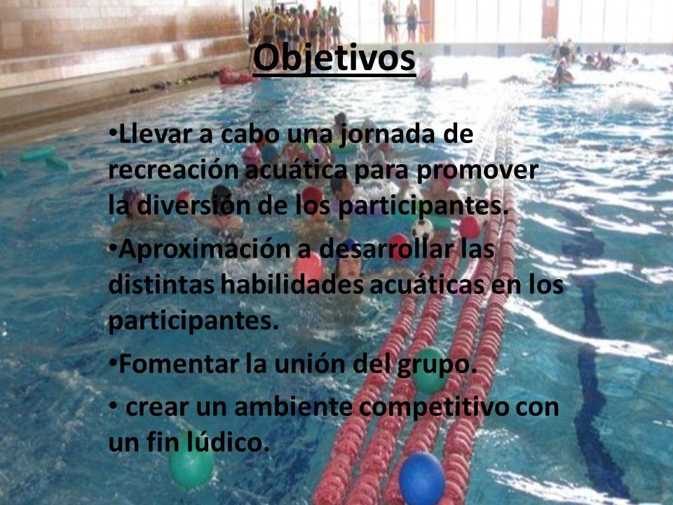 Objetivos Llevar a cabo una jornada de recreación acuática para promover la diversión de los participantes. Aproximación a desarrollar las distintas h