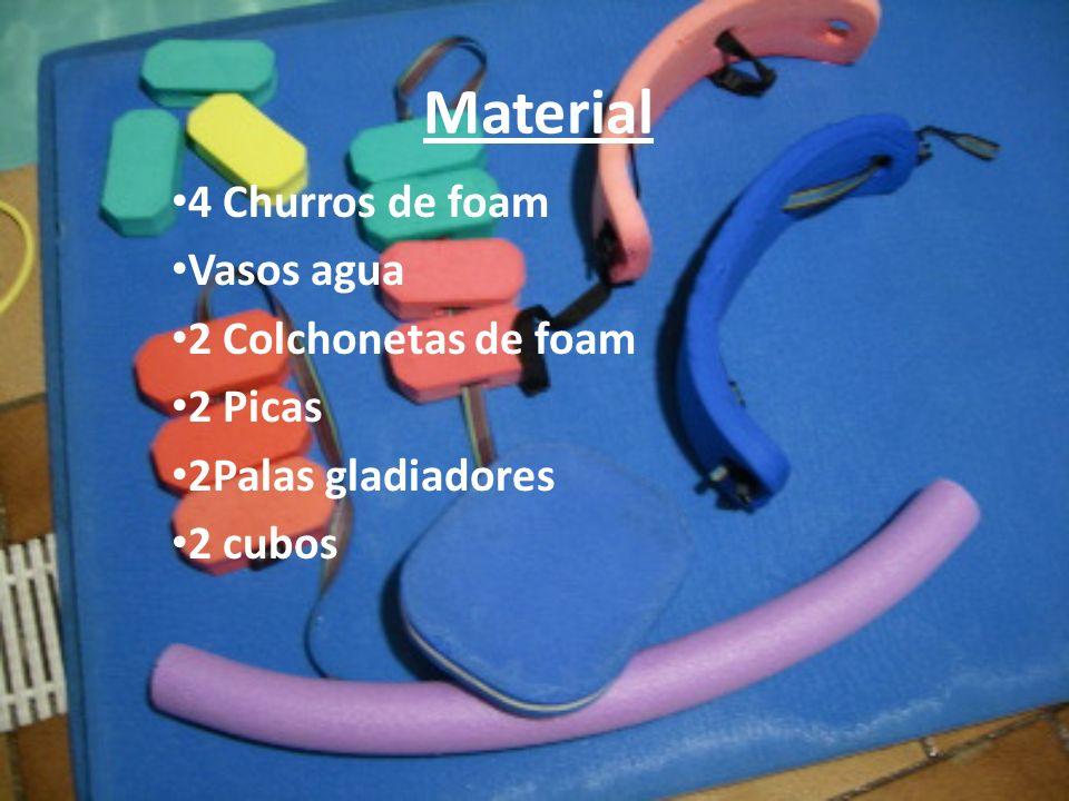 Material 4 Churros de foam Vasos agua 2 Colchonetas de foam 2 Picas 2Palas gladiadores 2 cubos