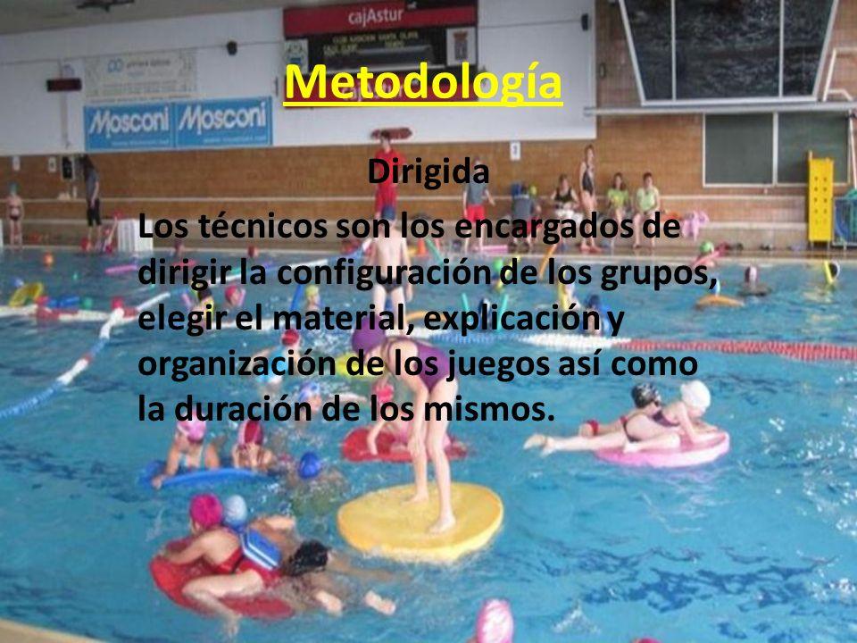 Metodología Dirigida Los técnicos son los encargados de dirigir la configuración de los grupos, elegir el material, explicación y organización de los