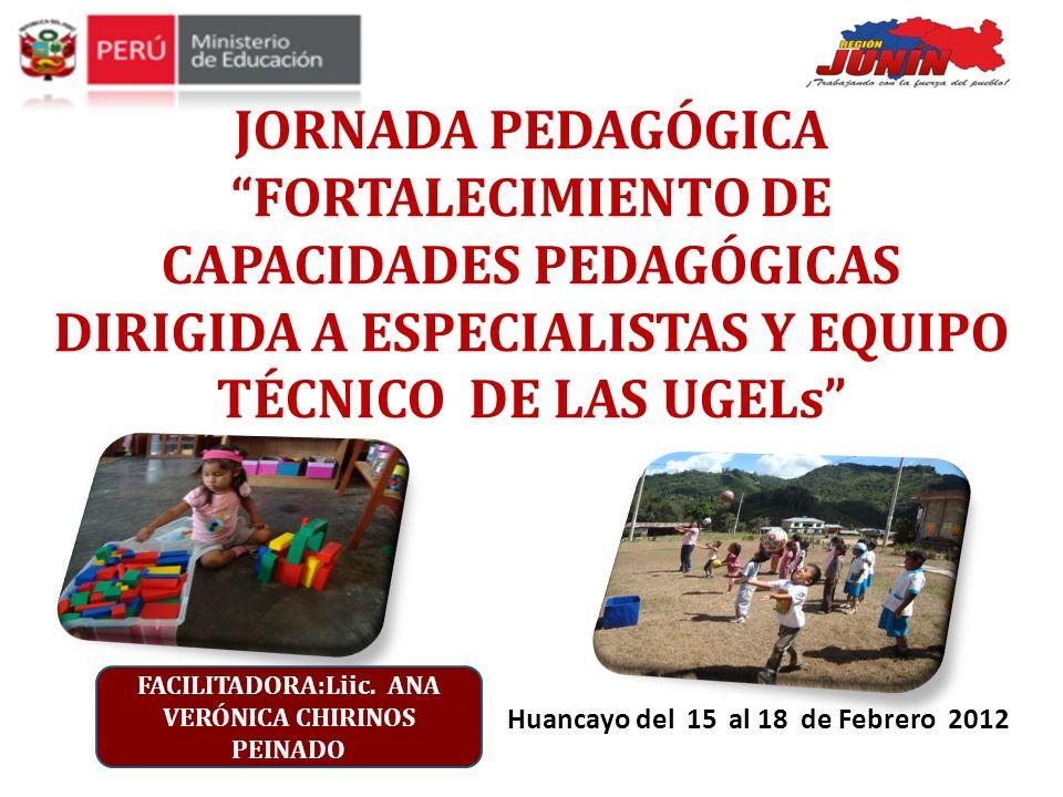 Huancayo del 15 al 18 de Febrero 2012 JORNADA PEDAGÓGICA FORTALECIMIENTO DE CAPACIDADES PEDAGÓGICAS DIRIGIDA A ESPECIALISTAS Y EQUIPO TÉCNICO DE LAS U