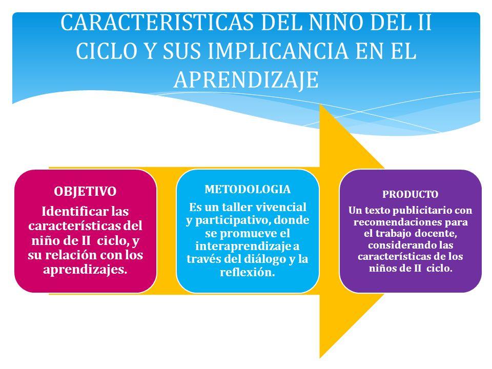 OBJETIVO Identificar las características del niño de II ciclo, y su relación con los aprendizajes. METODOLOGIA Es un taller vivencial y participativo,