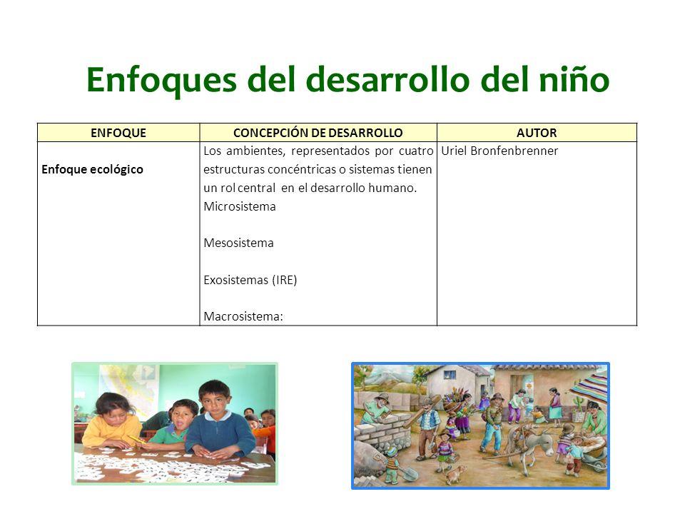 Enfoques del desarrollo del niño ENFOQUECONCEPCIÓN DE DESARROLLOAUTOR Enfoque ecológico Los ambientes, representados por cuatro estructuras concéntric