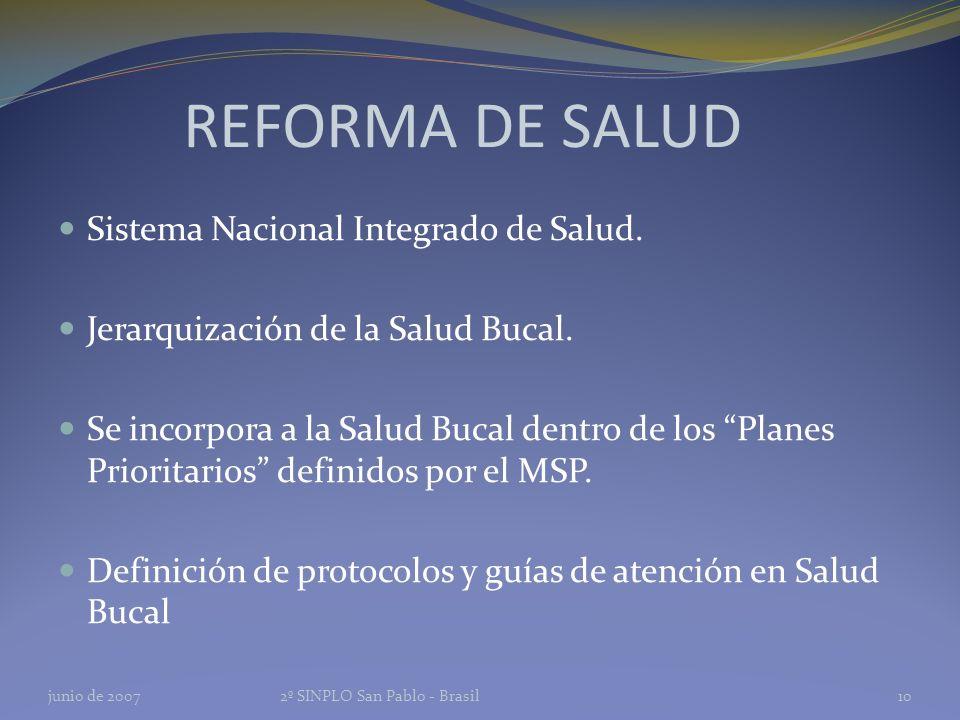 REFORMA DE SALUD Sistema Nacional Integrado de Salud.