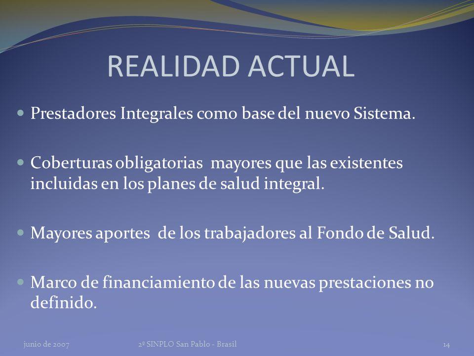 REALIDAD ACTUAL Prestadores Integrales como base del nuevo Sistema.