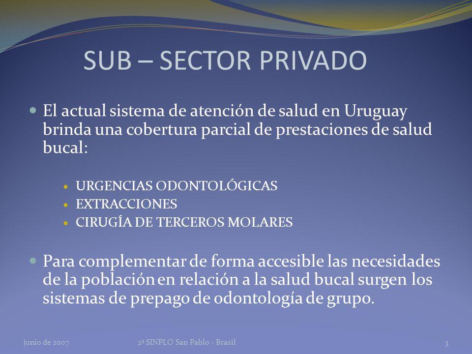 SUB – SECTOR PRIVADO El actual sistema de atención de salud en Uruguay brinda una cobertura parcial de prestaciones de salud bucal: URGENCIAS ODONTOLÓGICAS EXTRACCIONES CIRUGÍA DE TERCEROS MOLARES Para complementar de forma accesible las necesidades de la población en relación a la salud bucal surgen los sistemas de prepago de odontología de grupo.